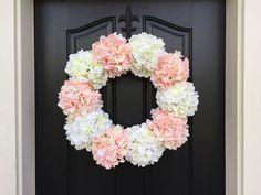 Etsy XL Summer Hydrangea Wreaths, Summer Hydrangea Wreath, Welcome Baby Girl, Baby Shower Decor, It's A G