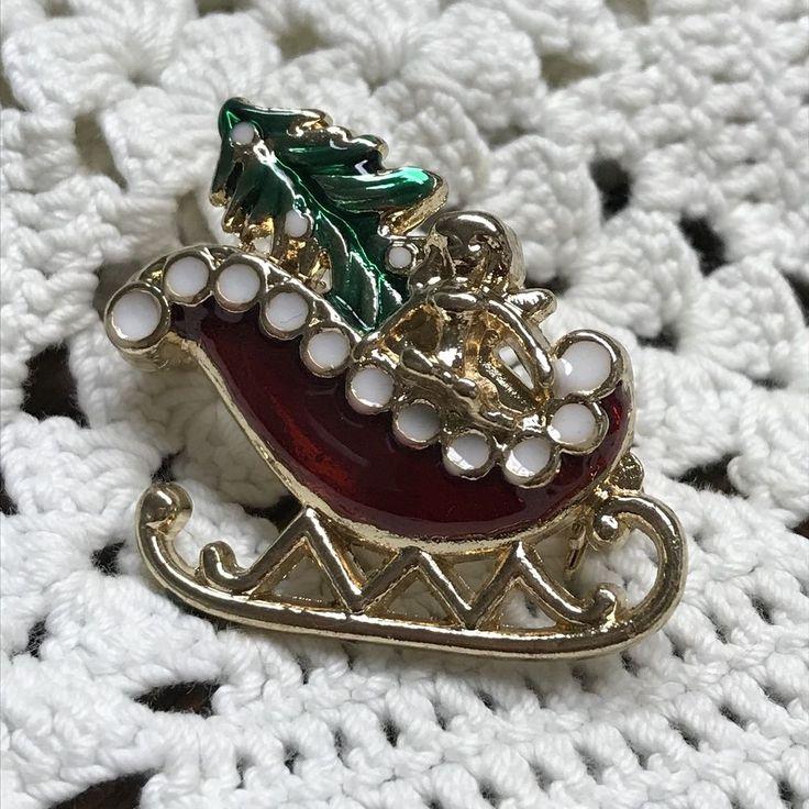 Vintage Enamel Goldtone Christmas Sleigh Brooch Pin Santa