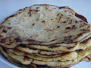 Lokshe (Lokše) = Low Fat Slovak Flour Tortillas made out of potato dough that are baked on a hot plate or an ungreased frying pan