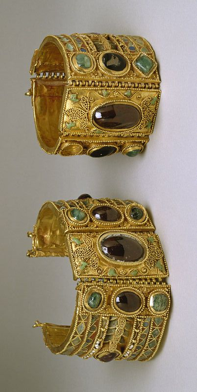 Greek gold bracelets for Olbia Treasures   Elements: late 2nd century BC; Setting: 1st century BC (Greco-Roman) Mediumgold, garnet, amethyst, emerald, pearl, chrysoprase, glass, enamel and modern replacements