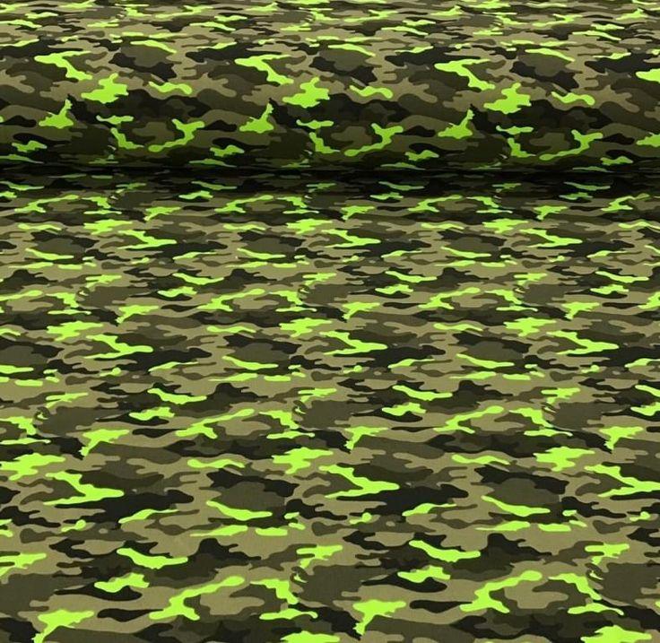 Tricot Legerprint neon groen - Megastoffen.nl