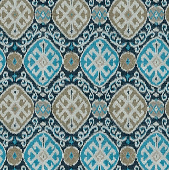Ikat Aqua bleu marine, tissu d'ameublement - Taupe, bleu marine Ikat Home Decor - moderne en tissu Ikat marine - Ikat bleu marine personnalisé oreillers