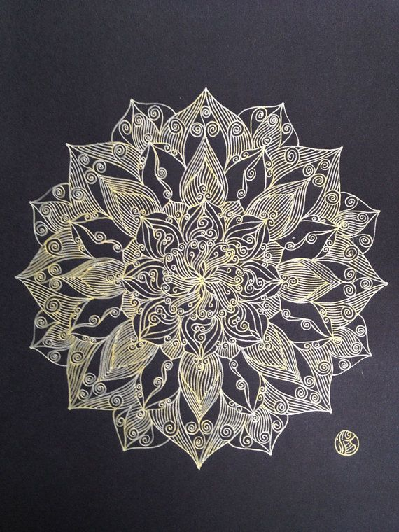 Gold line Mandala by mariagallery on Etsy