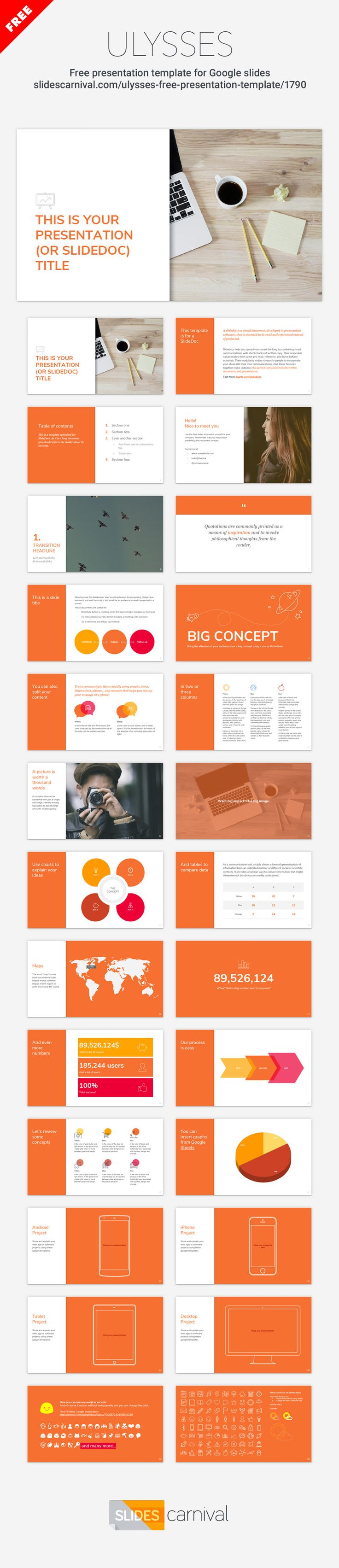 A clean theme designed to present your information in a professional format. This free presentation template it's optimized for presentations that are going to be printed or sent by mail as work documents (known as slidedocs). You can keep the lively orange color or choose another that matches your corporate identity, as all elements and slides are customizable edit them easily to fit your requirements. This theme gives you all the tools you need to effectively communicate your message.