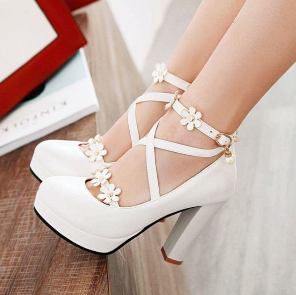 Lolita Flower Pearl High Heels YV40459 #Hochzeitsschuhe