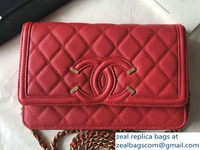 6b691095a77e Chanel CC Filigree Grained Calfskin Wallet On Chain WOC Bag A84451 Red 2018