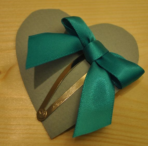 Turquoise Blue Bow Hair Clip on Etsy, £1.20