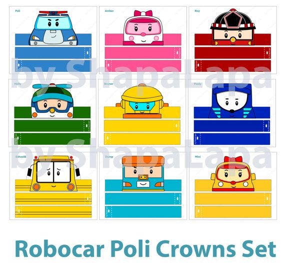 Set consists of 11 crowns with different cars of Poli Robocar such as:  • Poli • Amber • Helly • Bruner • Roy • Posty • SchoolB • Cleany • Dump •