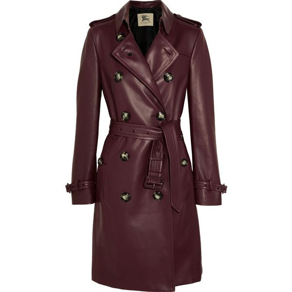 Burberry London Kensington leather trench coat found on Polyvore featuring outerwear, coats, burberry, coats & jackets, jackets, burgundy, burgundy trench coat, brown coat, burgundy coat and leather trench coat