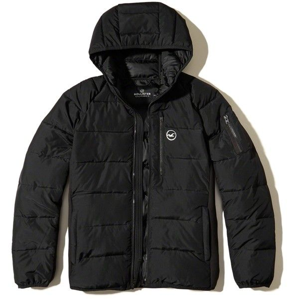Hollister Neoprene Puffer Jacket ($98) ❤ liked on Polyvore featuring men's fashion, men's clothing, men's outerwear, men's jackets, black, mens faux leather jacket, mens faux leather hooded jacket, men's neoprene jacket and mens hooded jackets