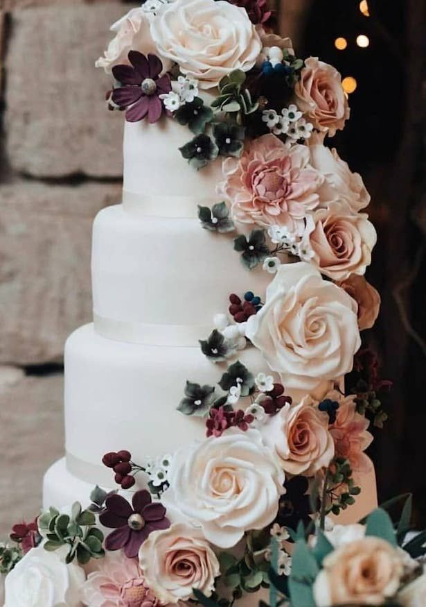 Best wedding cakes of 2018 | White wedding cake with blush, peach and burgundy w…   – Wedding Cakes and beyond