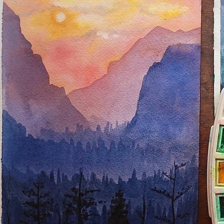 تعليم الرسم كيف ترسم منظر طبيعي بسيط بالالوان المائية منظر غروب و جبال و اشجار رسم منظر الوان مائية غروب Diy Art Painting Art Painting Painting