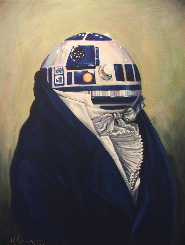 Pop-culture characters painted in a 19th century style Good.