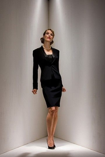 Modest Satin Black knee-length sheath Mother of the Bride Dress