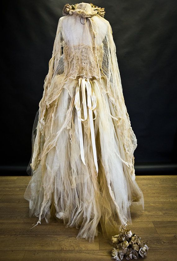 Size large ivory tea stained lace and Tulle by Glamtastik on Etsy