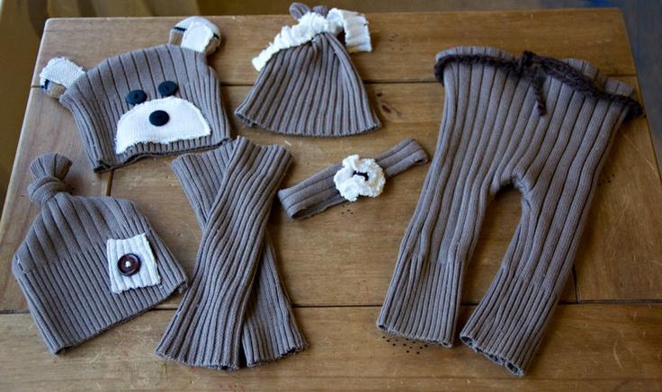 Newborn Upcycled Sweater Set - Ready to Ship. $85.00, via Etsy.