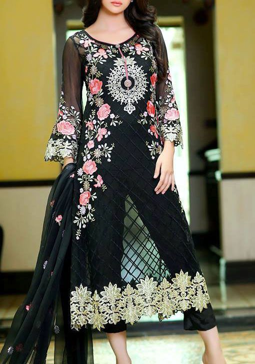 Buy Black Embroidered Chiffon Dress by Embellish 2015.