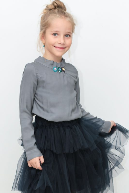 Fashion for kids in grey and navy and swarovski elements embroidery from Designers for Kids...