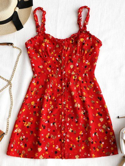 a9529c2d06ee SHARE & Get it FREE | Floral Frilled Button Up Mini Dress - Red MFor  Fashion Lovers only:80,000+ Items • New Arrivals Daily Join Zaful: Get YOUR  $50 NOW!