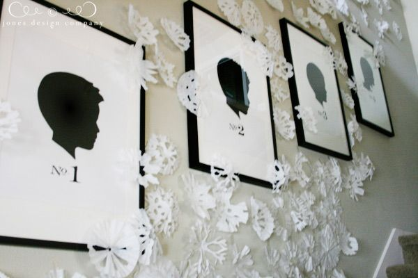 details, sources and questions answered {plus a freebie} the silhoutes with there birth order is so cute! love the snowflakes!
