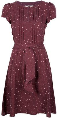 burgundy polka dot dress