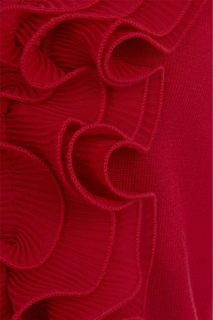 Womens Frill Detail Cardigan - Ladies - Red - Size 16