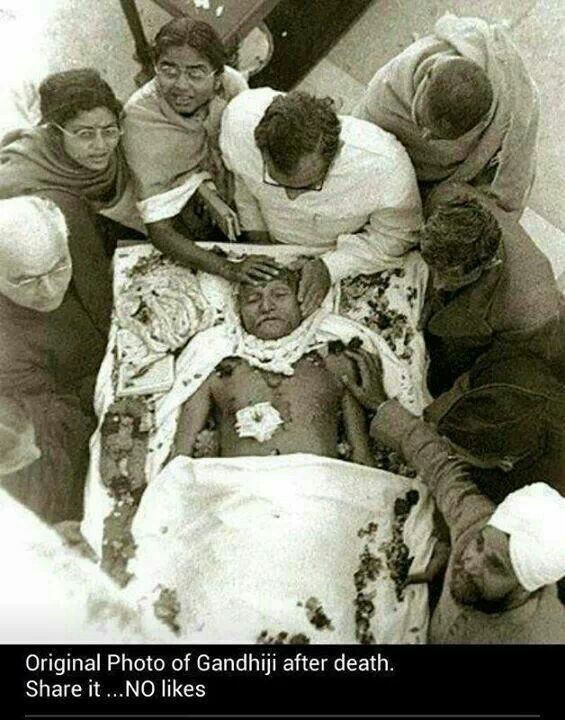 Very rare photo of gandhiji after being shot .