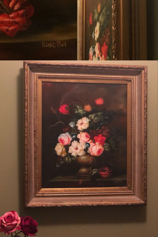 Flowers In Vase By Rosetta 28x32 Antique Ornate Hecho En Mexico