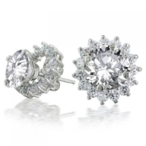 Round CZ Stud Earrings w Removable Jacket Flower Petal Ring