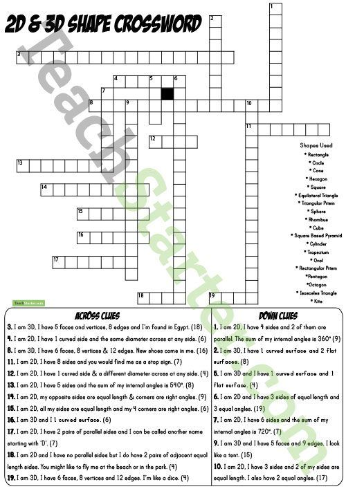 2D Shapes and 3D Objects Crossword with Solution Teaching Resource