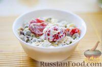 Фото к рецепту: Мясной салат с помидорами черри и сыром