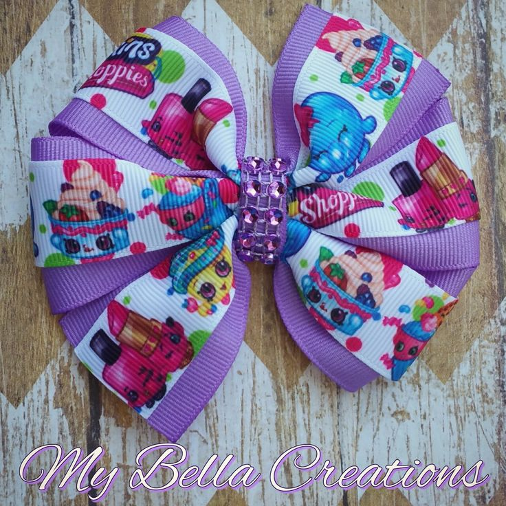 Shopkins pinwheel Hair Bows by My Bella Creations. Follow on Instagram and Facebook: mybellacreations