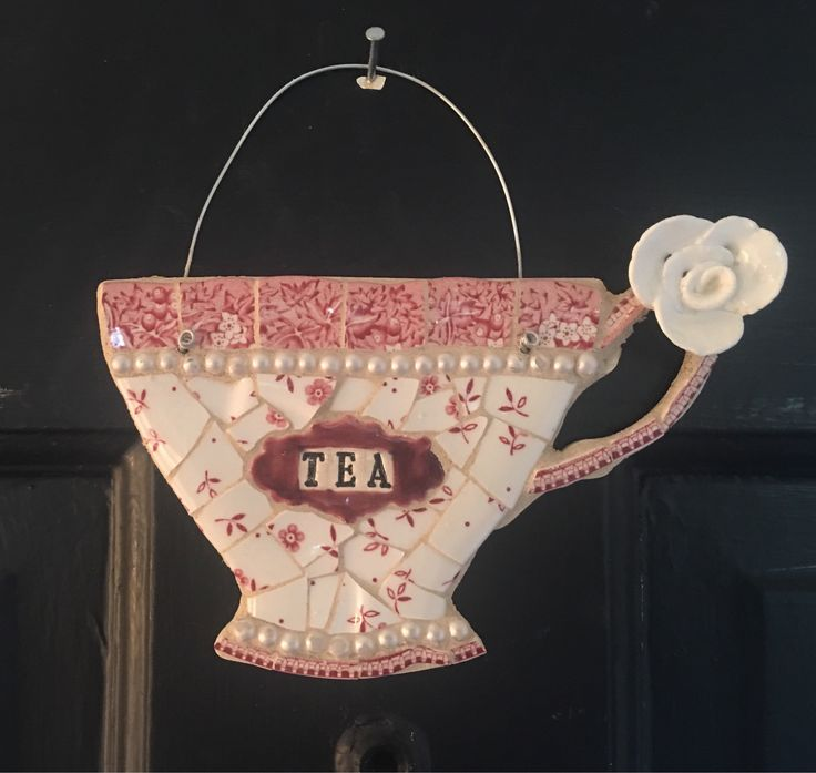 A personal favorite from my Etsy shop https://www.etsy.com/listing/598366073/teacup-mosaic-wall-hanging