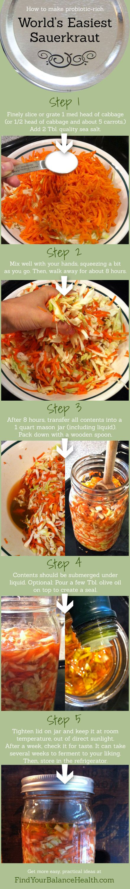 World's Easiest Sauerkraut Recipe. You can SO do this.   Find Your Balance with Michelle Pfennighaus