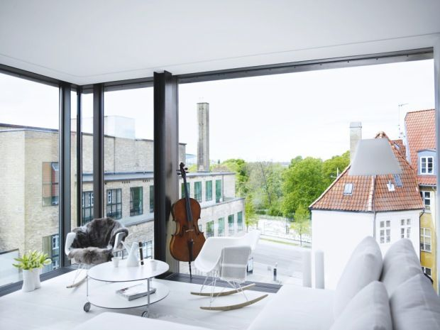 Floor to ceiling wrap around windows, invisible walls in an apartment. View of rooftops. http://cococozy.com: Architects, Window, Urban Cities, Danishes Style, Apartment, Ceilings, Accessories, Cello, White Interiors