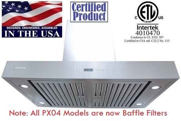 XtremeAir Non Magnetic Stainless Steel Island Range Hood PX04-I36