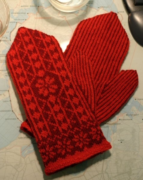 Swedish red knitted mittens