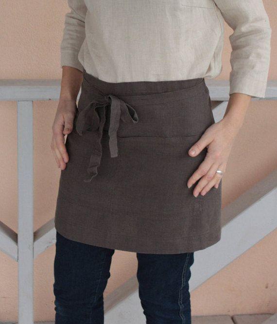 Natural linen apron, flax linen apron, pure flax linen fabric, linens for kitchen, linen half apron, washed tea linen apron