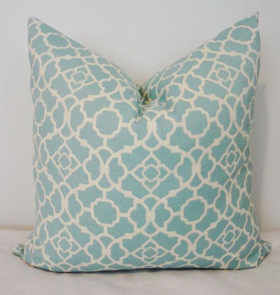 OUTDOOR Deck Patio Pillow Waverly Blue Lagoon Lattice Aqua Cream Outdoor  Pillow Cover 18x18 On Etsy