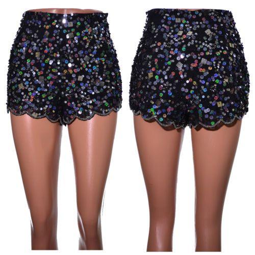 Black-embellished-sequin-beaded-shorts-size-6-8-10-12