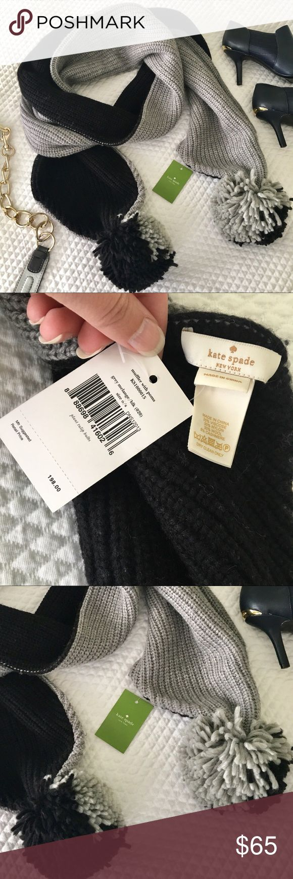 NWT Kate Spade Scarf with Poms Gorgeous, warm (contains wool and cashmere) grey and black scarf with pond. Brand new!  Full price is $198.  [Purse and booties also for sale] kate spade Accessories Scarves & Wraps