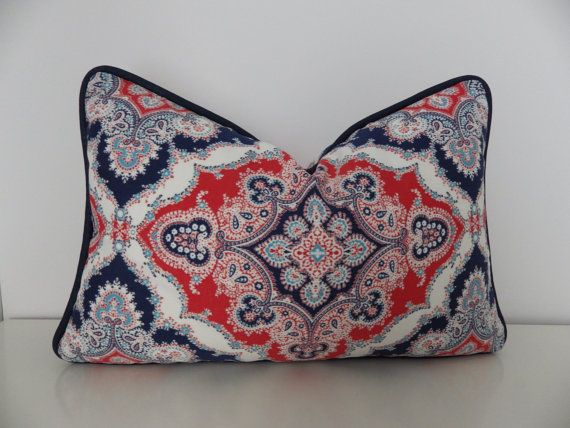 12 x18 Outdoor Pillow Cover- Red, White, and Blue Lumbar Pillow Cover, Indoor/Outdoor Pillow- Beach House Decor