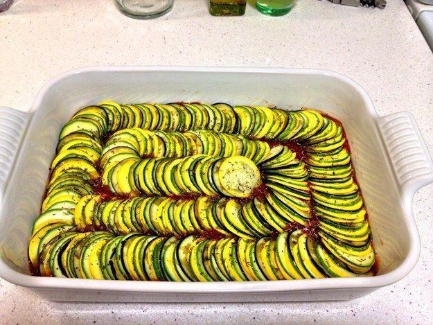 This arrangement of ratatouille.   The 33 Most Satisfying Things That Have Ever Happened To Food