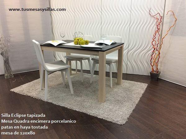 Mesa de cocina en medida pequeña incluso de 110x70,120x80,140x90.. de estilo nordico, extensible y en madera con encimera de porcelanico, cristal olaminado