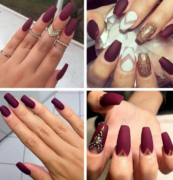 Best Burgundy Nails 45 Nail Designs For Different Shapes Shopping Ideas Burgundy Nails Maroon Acrylic Nails Maroon Nails