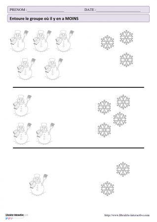 Librairie interactive activit s math matiques de l 39 hiver bonhommes de neige pinterest - Activite hiver maternelle ...