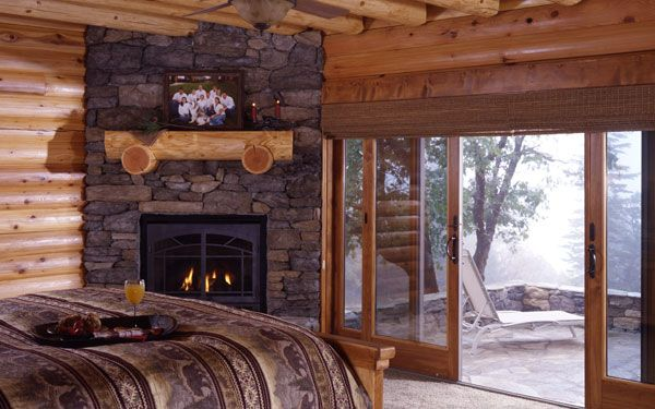 Nice Log House Master Bedroom Fireplace But I Pinned