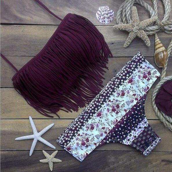 Fashion floral Print Tassel beach bikini