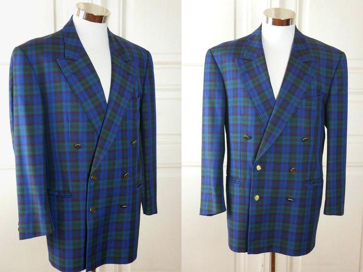 Austrian Vintage Plaid Blazer, Blue Green Black Tartan Double-Breasted Men's European Sport Coat Jacket w Peak Collar: Size 40 US/UK by YouLookAmazing on Etsy