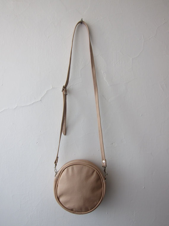 olive round leather bag